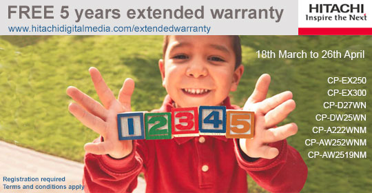 Hitachi 5 year warranty on selected projectors